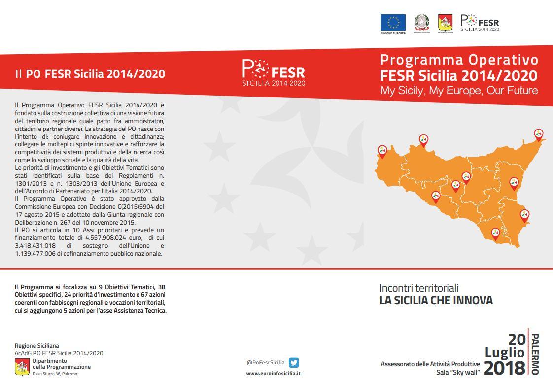 Incontri territoriali, La Sicilia che innova : Palermo, 20 luglio 2018 all'Assessorato Attività Produttive