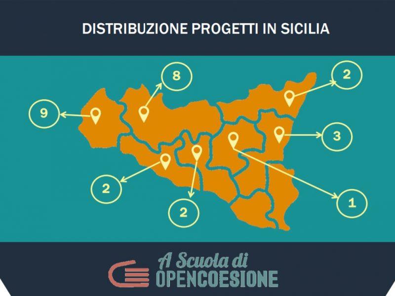 A Scuola di OpenCoesione (ASOC): ventisei le scuole siciliane ammesse per l'edizione 2018-2019 - distribuzione progetti nelle province