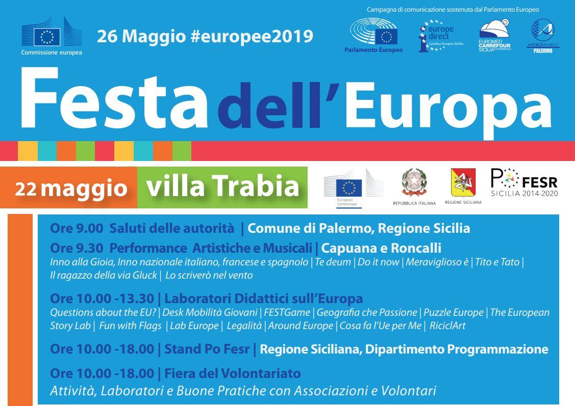 La Festa dell'Europa 2019 a Palermo: il 22 maggio a Villa Trabia - new
