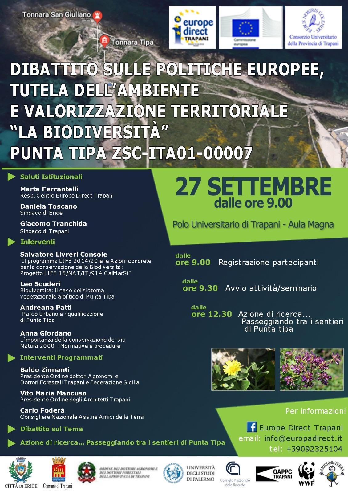 La biodiversità di Punta Tipa, 27 settembre Aula Magna del Polo Universitario Trapani - Dibattito sulle politiche europee, tutela dell'ambiente e valorizzazione territoriale
